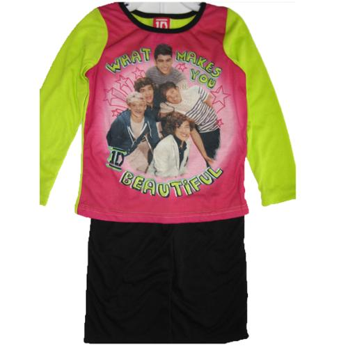 Image of 1D Little Girls Pink Green Black One Direction Band Print 2 Pc Pajama Set 4-6
