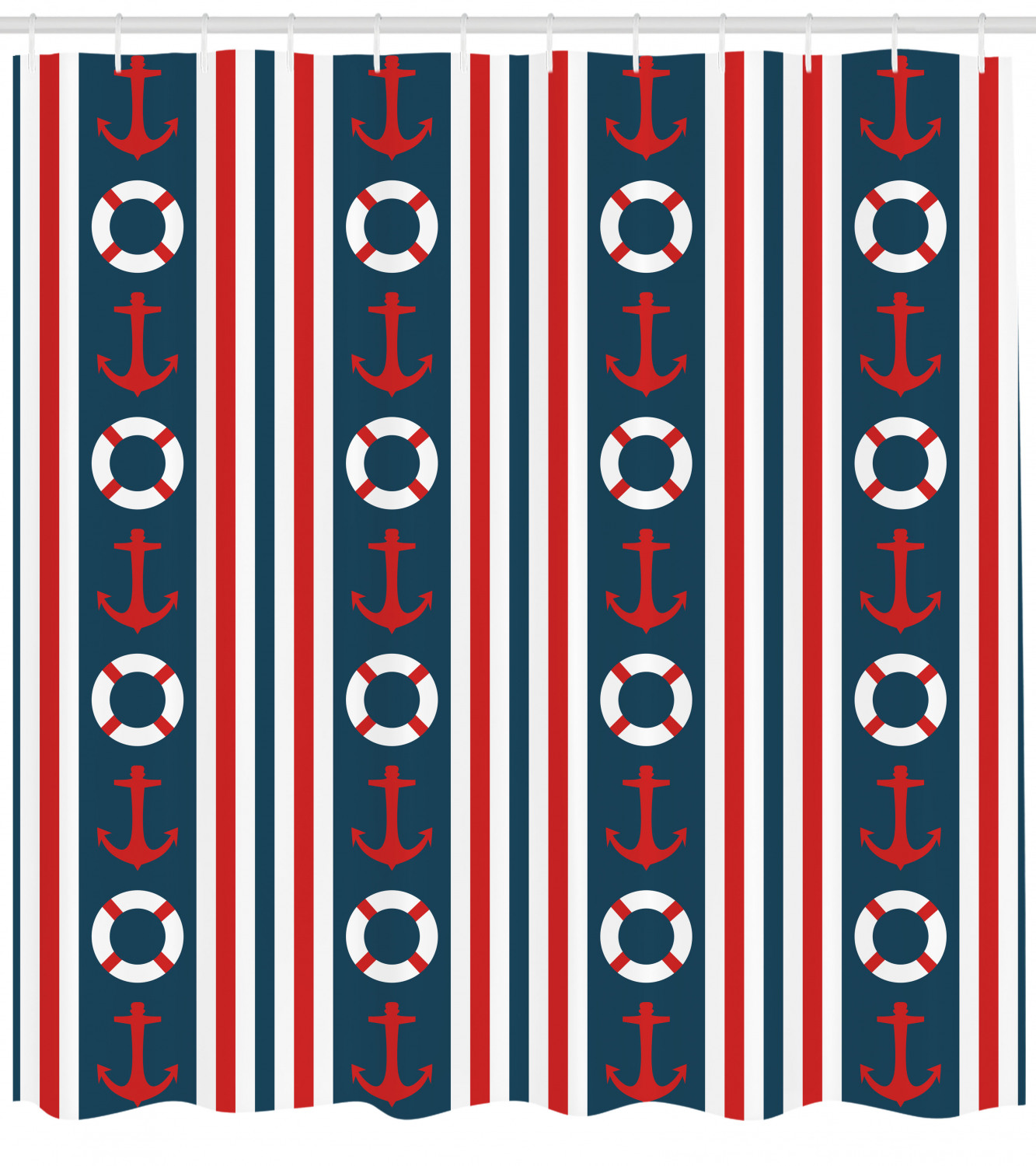 Nautical Shower Curtain Vertical Borders Stripes Maritime Theme Steering Wheel And Anchor Pattern Fabric Bathroom Set With Hooks 69w X 70l Inches