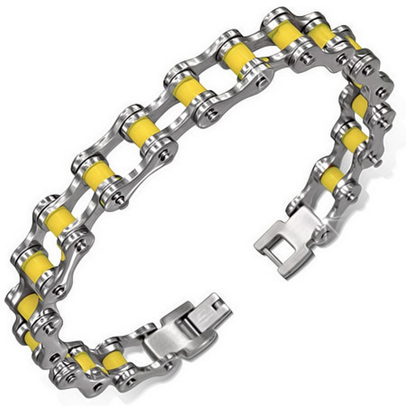 Stainless Steel Silver-Tone Yellow Rubber Link Mens Bracelet