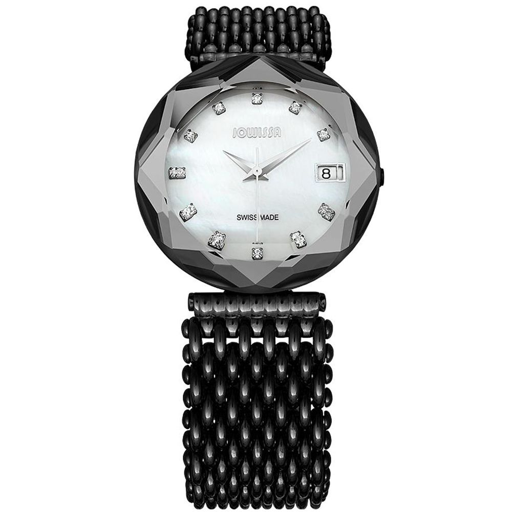 Jowissa Women's J5.195.XL Crystal 3 Black PVD Coated Stee...