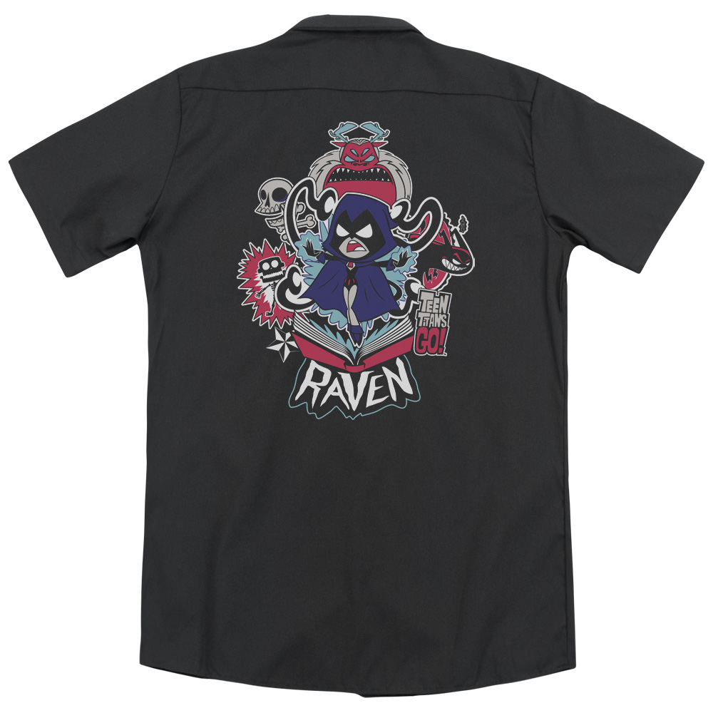 Teen Titans Go Raven (Back Print) Mens Work Shirt by Trevco