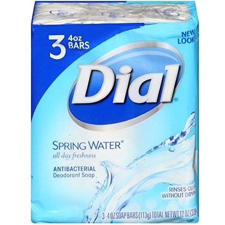 Dial Antibacterial Soap Bars, Spring Water, 4 oz bars, 3 ea (Pack of 4)