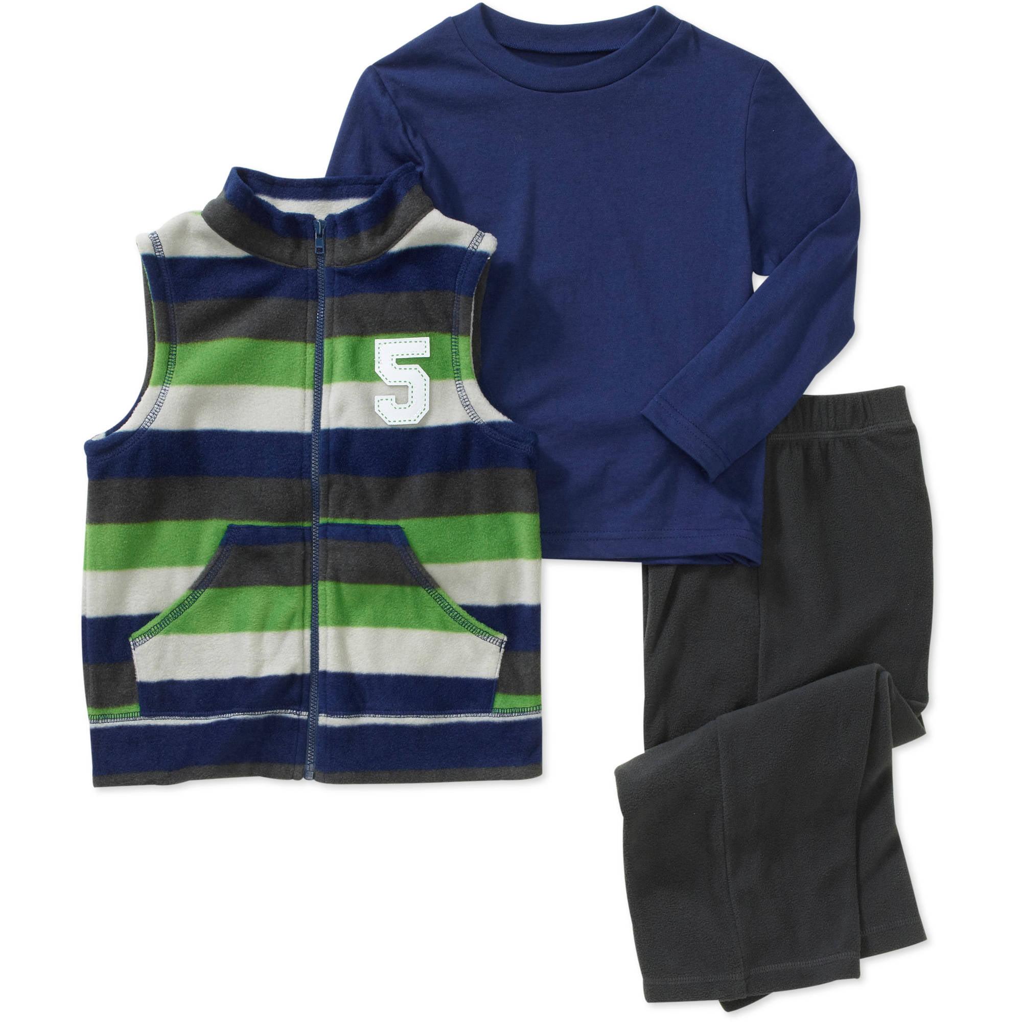 Healthtex Baby Boys' 3-Piece Fleece Vest, Tee and Pant Set