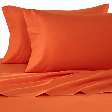 90 Gsm Super Soft Wrinkle Free 4 Pc Sheet Set   Deep Pocket   All Size And Colors   King Orange  1 Flat Sheet  102  X 105   1 Fitted Sheet  78  X 80   And 2 Standard    By Elegant Comfort