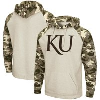 Kansas Jayhawks Colosseum OHT Military Appreciation Desert Camo Raglan Pullover Hoodie - Heathered Oatmeal