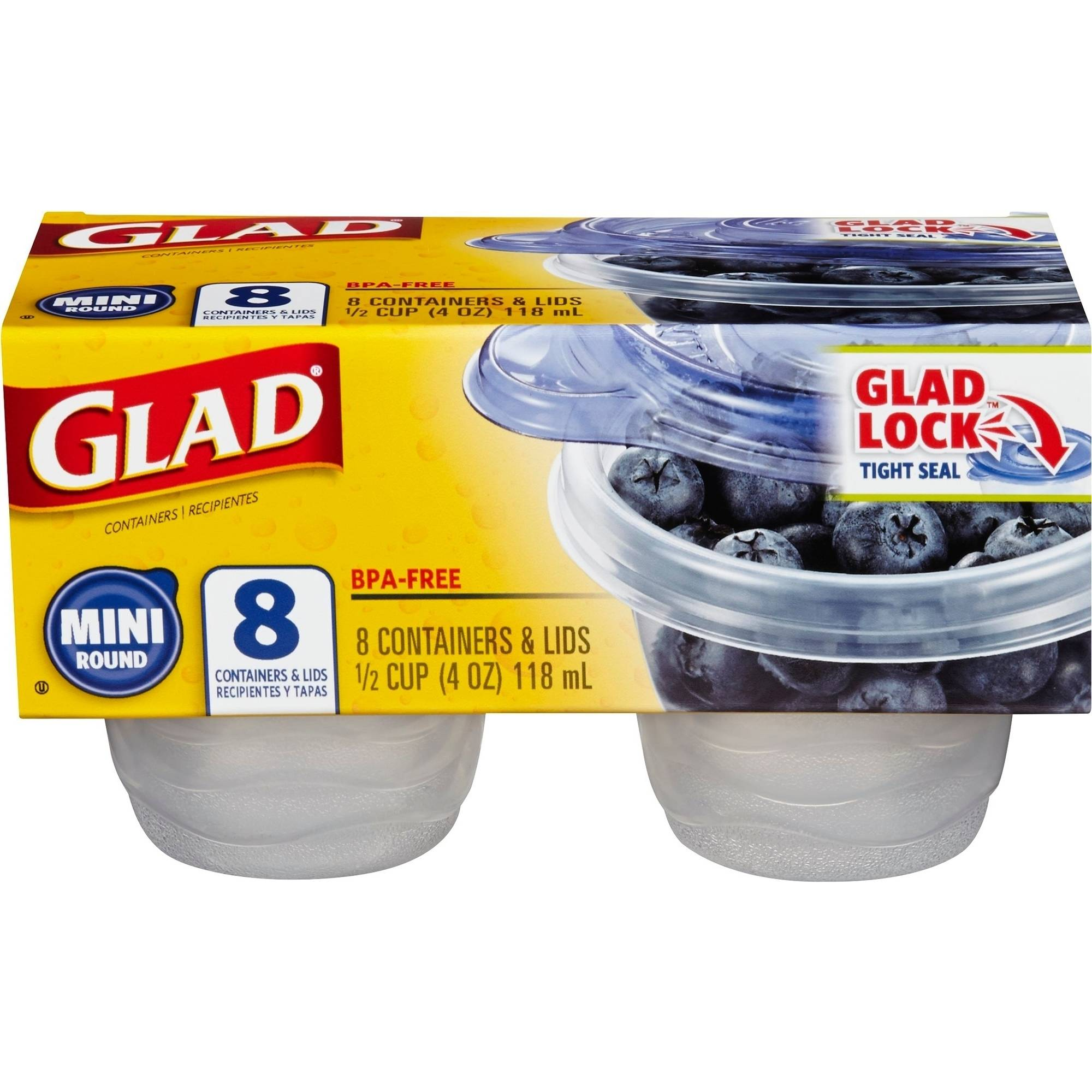 Glad Food Storage Containers, Mini Round, 4 Ounce, 8 Count, BPA Free