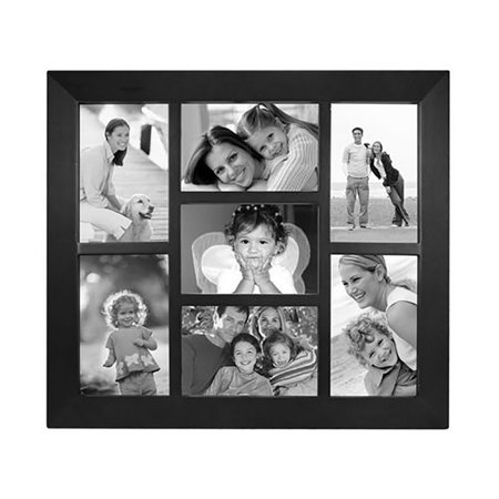 Malden Berkeley Beveled Edge Wood Collage Picture Frame, 7 Opening, 7-4x6, Black