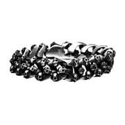 BR4016 8.5 in. Mens Skull Brushed Oxidized Bracelet, Stainless Steel
