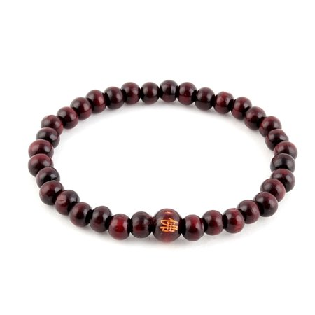 Unique BargainsWomen Man Wood Elastic Beads Decor Buddhist Buddha Prayer Bracelet Brown ()