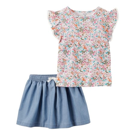 Carter's Girls' 4-8 2 Piece Floral Top and Chambray Skirt Set, 4 Kids