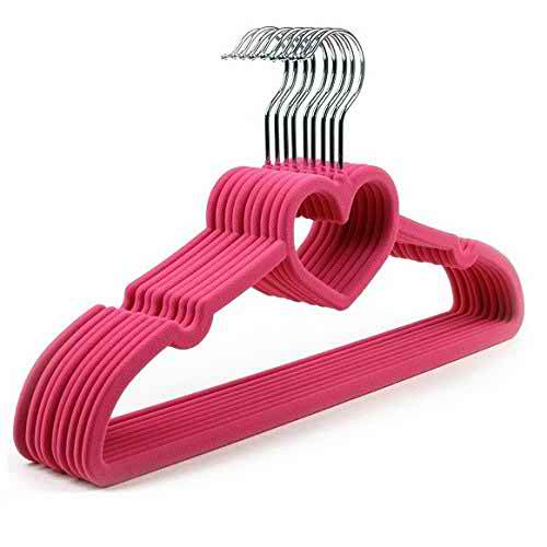 30 Pack Clothes Hangers PINK Velvet Hangers LOVE SHAPED Clothes Hanger Ultra Thin No Slip
