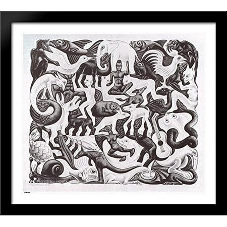 Mosaic II 32x28 Large Black Wood Framed Print Art by M.C. Escher