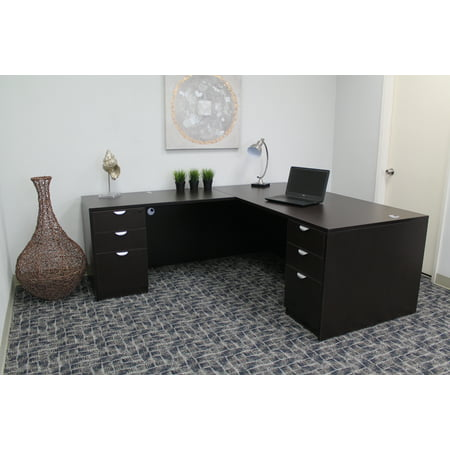 Boss Office Products Mocha 71 Inch Executive L Shape Corner Desk With Dual File Storage Pedestals
