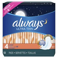 Always Ultra Thin Overnight Pads with Wings Unscented, Size 4, 52 Ct