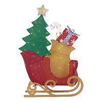 Holiday Time Light-up Twinkling LED Tinsel Sleigh Decoration, 52""