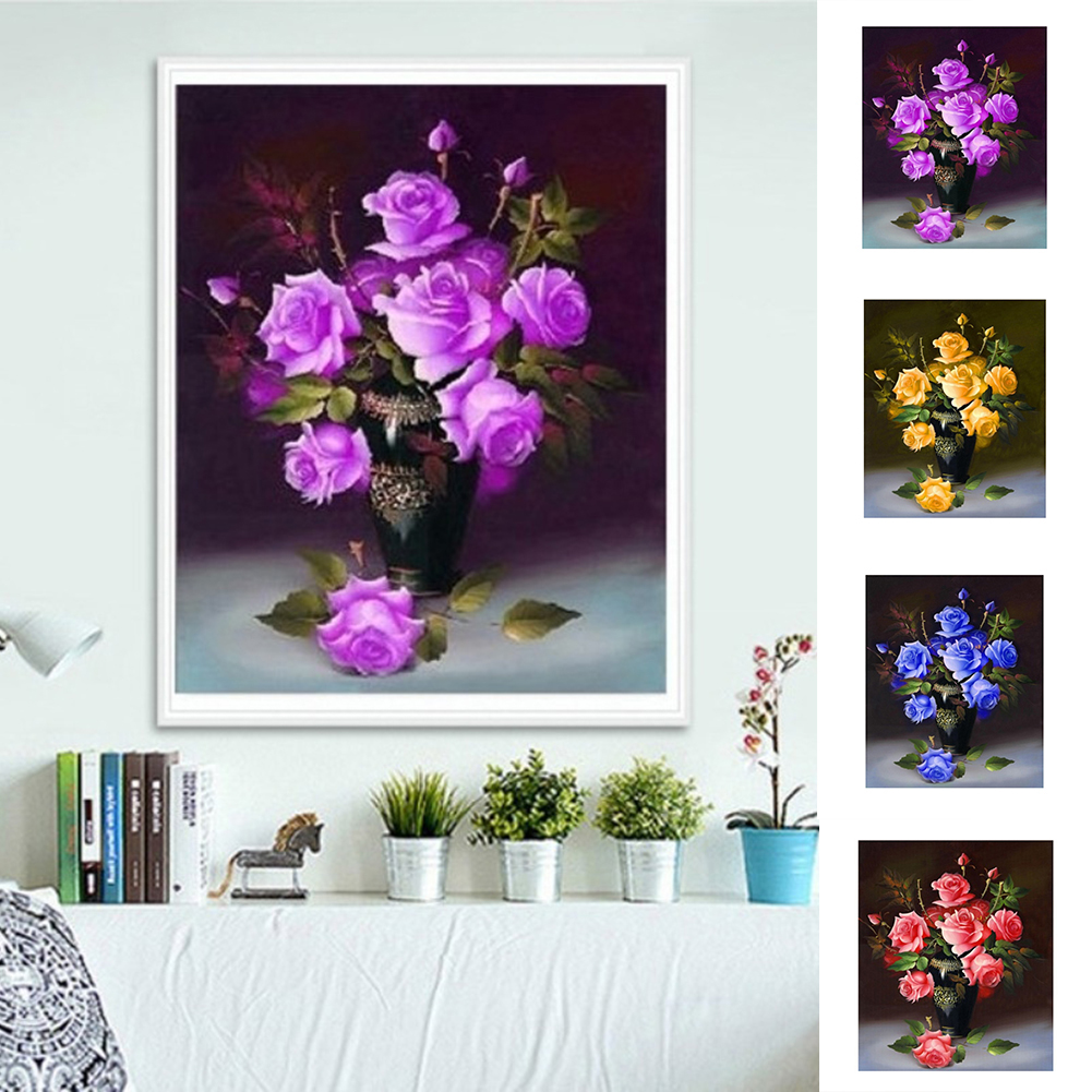 Girl12Queen DIY Rose Flowers Vase Diamond Painting Cross-stitch Embroidery Art Home Decor