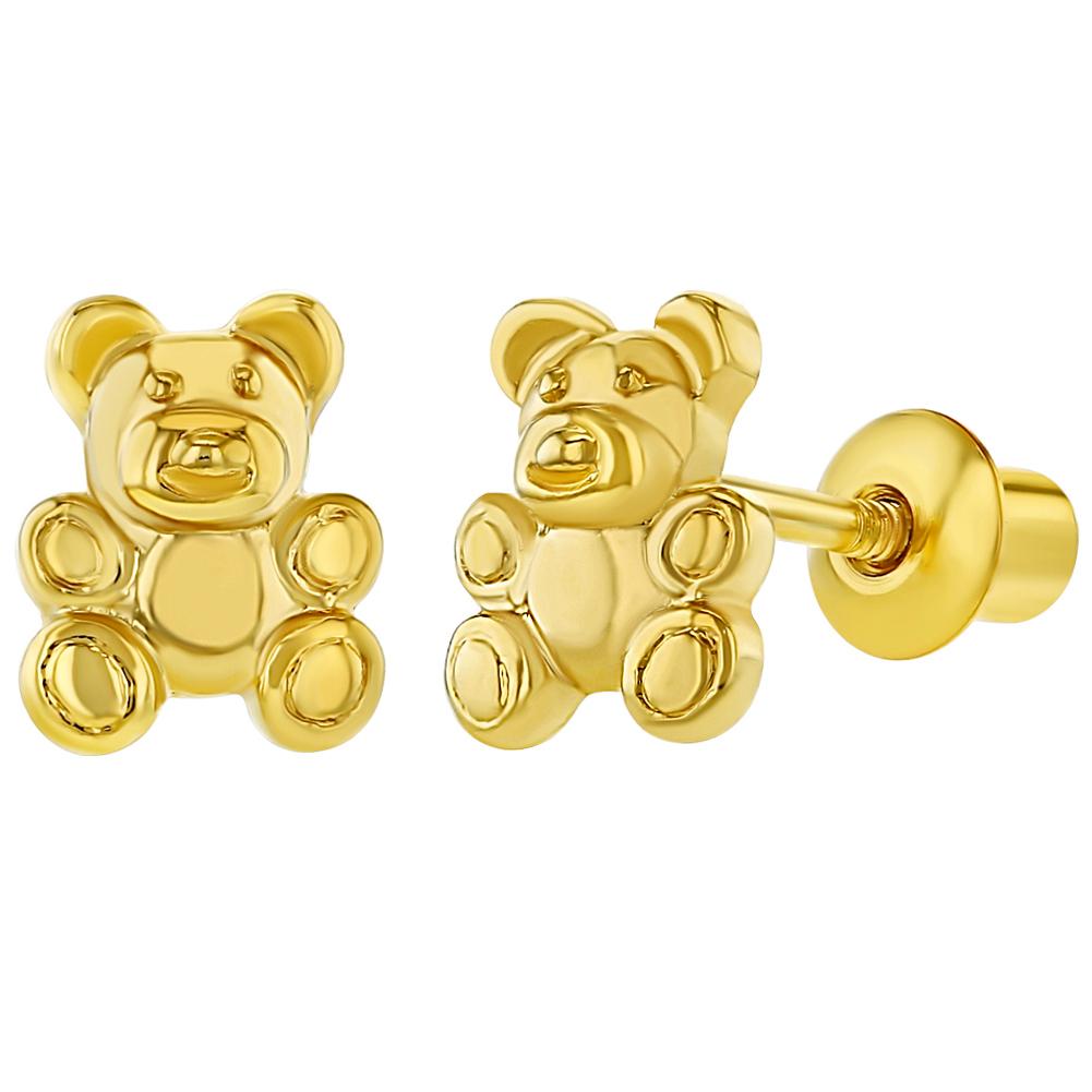 18k Gold Plated Little Teddy Bear Back Earrings For Toddlers S