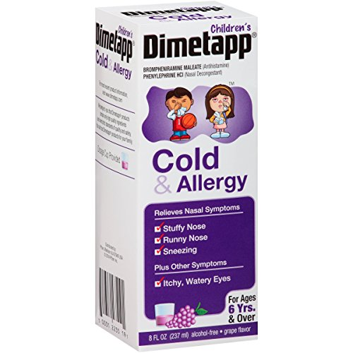 4 Pack Dimetapp Children's Cold & Allergy Grape Flavor 8 Oz Each