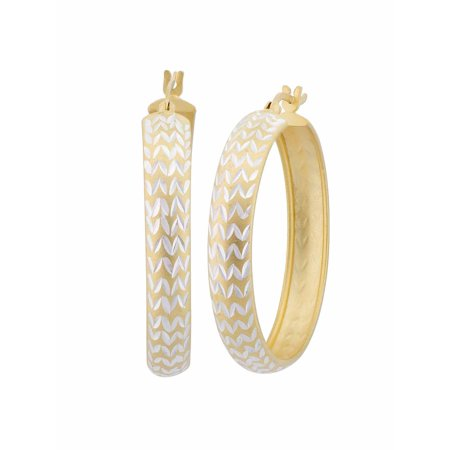 Sterling Silver and 18kt Gold Over Sterling Silver Diamond Cut Chevron Hoop Earrings