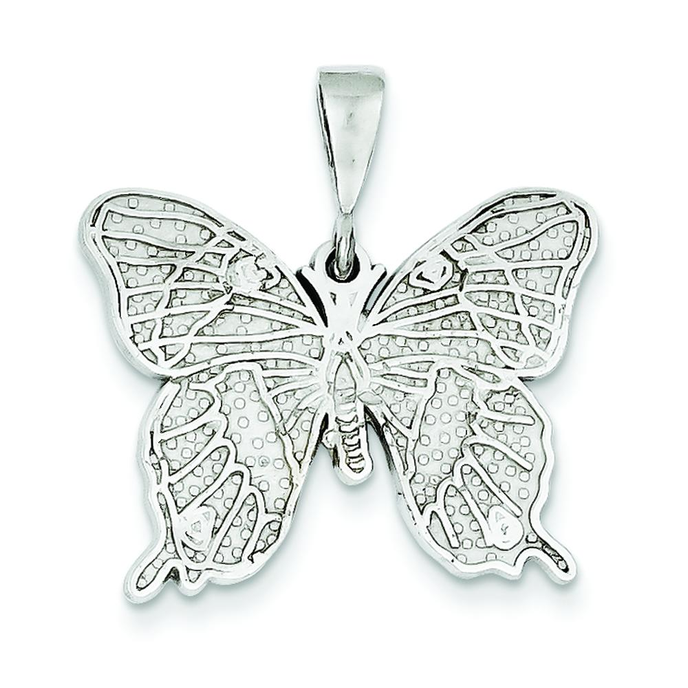 14K White Gold Butterfly Charm Pendant Insect Jewelry