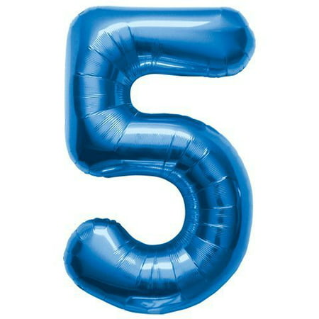Number 5 - Blue Helium Foil Balloon - 34 inch](Design Your Own Helium Balloons)