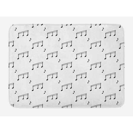 Music Bath Mat, Musical Notes Theme Melody Sonata Singing Song Clef Tunes Hand Drawn Style Pattern, Non-Slip Plush Mat Bathroom Kitchen Laundry Room Decor, 29.5 X 17.5 Inches, Charcoal Grey, Ambesonne