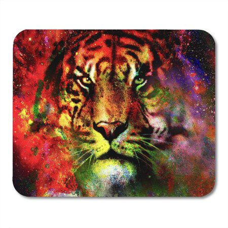 KDAGR Abstract Magical Space Tiger Multicolor Computer Graphic Collage Canvas Face Mousepad Mouse Pad Mouse Mat 9x10 inch