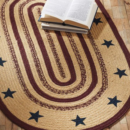 Natural Tan Primitive Flooring Potomac Stars Jute Stenciled Star Oval Accent Rug