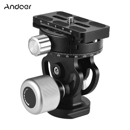 Andoer VH-10 2 Way Pan/Tilt Tripod Head Panoramic Bird Watching Photography Head with Quick Release Plate 3 Bubble Level Carry Bag Replacement for Sirui L10 RRS