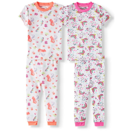 Freestyle Revolution Short sleeve cotton tight fit pajamas, 4-pc set (baby girls & toddler girls)](Girls Button Up Pajamas)