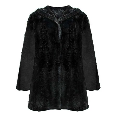 - Faux Fur Plush Swing Jacket With Hood