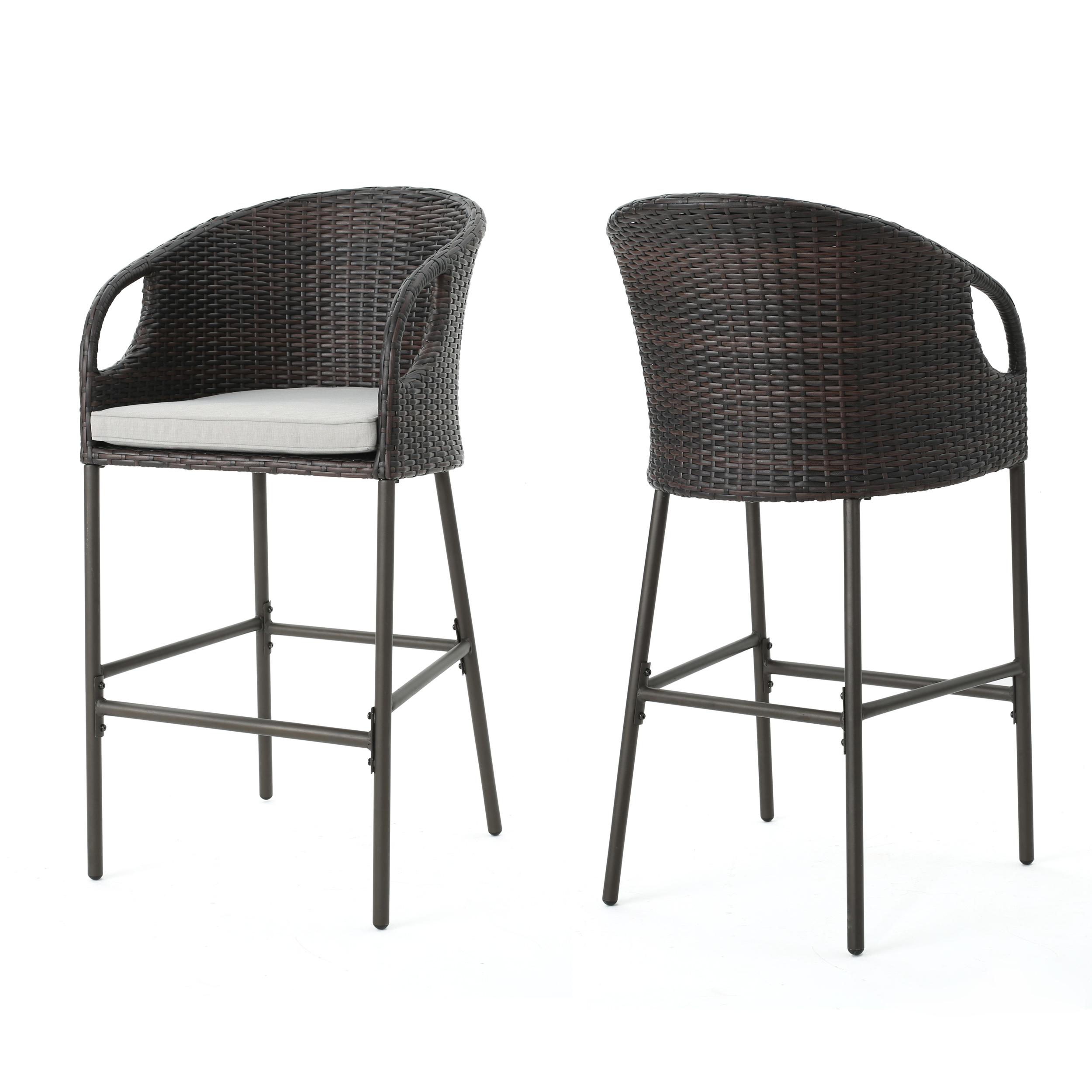 Dunlevy Outdoor Multibrown Wicker Barstools with Water Resistant Cushions, Set of 2, Light Brown