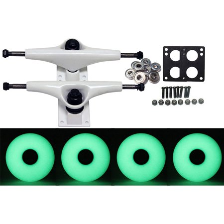 Skateboard Truck Parts - LONGBOARD Skateboard WHITE TRUCKS & GLOW IN THE DARK 70MM WHEELS PACK