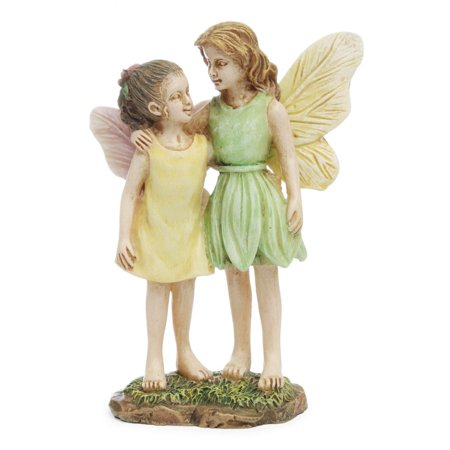 2 Sisters Mini Figurine Fairy Girls Garden Dollhouse Decor Accessory