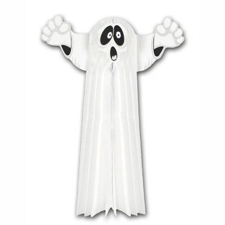 Club Pack of 12 White Tissue Hanging Ghost Halloween Decorations 23