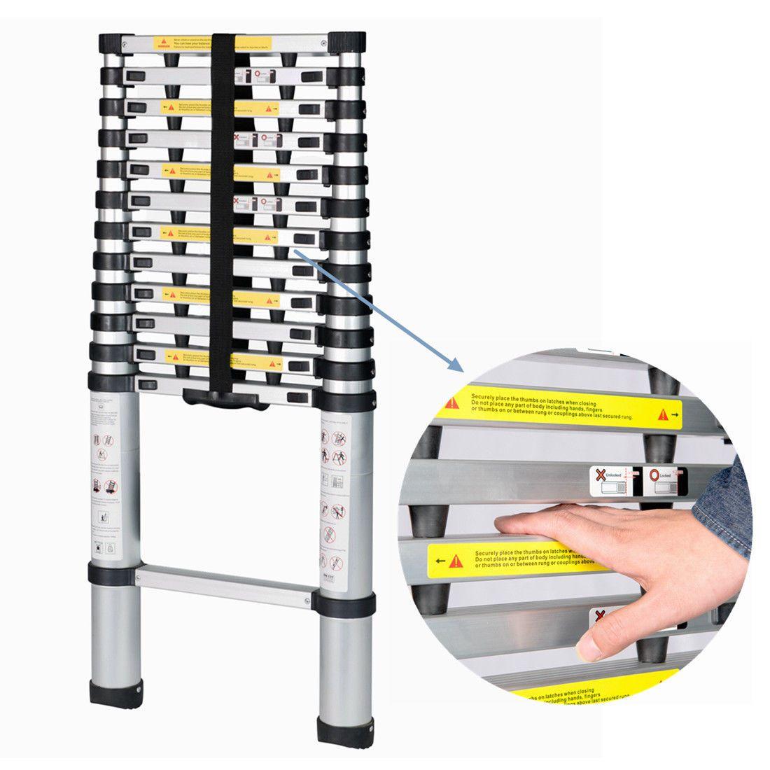12.5' FT EN131 Professional Extension Aluminum Multi Purpose Telescoping Ladder
