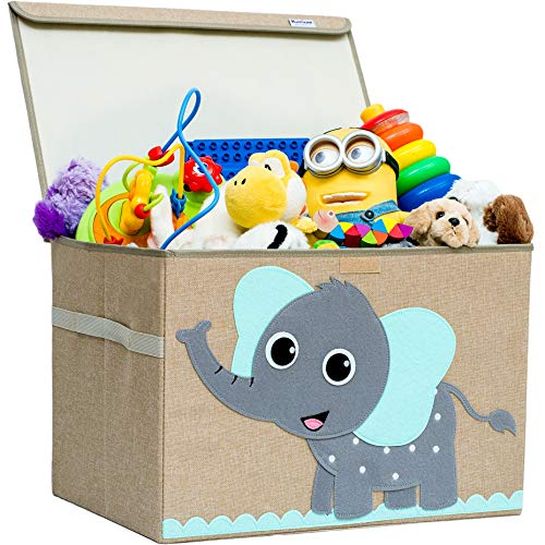 Elephant Hurricane Munchkin Collapsible Kids Storage Cube Toy Box for Toddlers Soft Fabric Toy Storage Bin for Cube Organizer