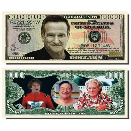"- Robin Williams Million Dollar Bill with Bonus ""Thanks a Million"" Gift Card Set and Clear Protector"