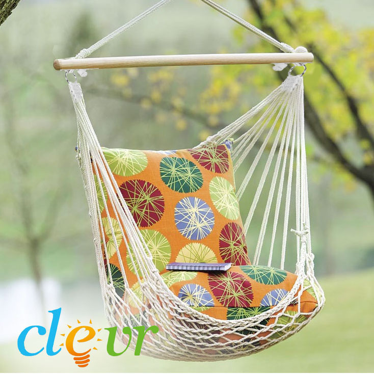 Clevr Outdoor Patio Lounge Rope Hammock Chair Chair, Natural White - Made of Cotton