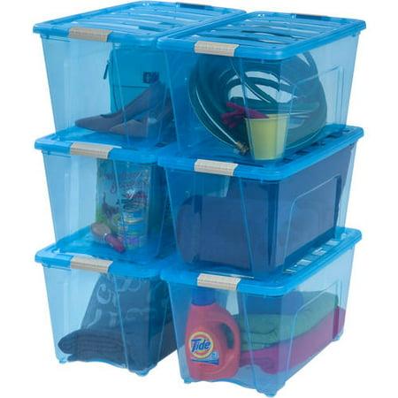 IRIS USA 54 Qt Storage Box with Latches, Blue, 6 Pack