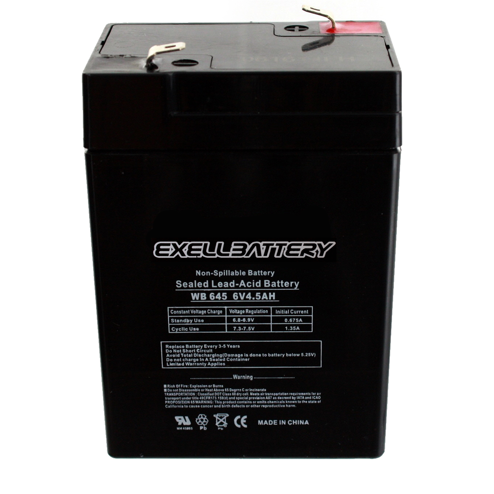 SLA Set of 4 by UPS Battery Center 6V 4.5AH Rechargeable Sealed Lead Acid Battery for Exit Lights