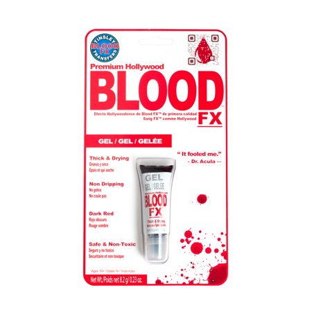 Tinsley Premium Hollywood Thick Drying Gel Fake Blood FX, Dark Red, .23oz - Make Fake Blood