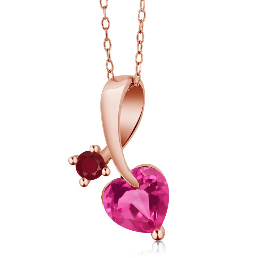 1.54 Ct Heart Shape Pink Created Sapphire Red Ruby 18K Rose Gold Pendant by Ruby Pins