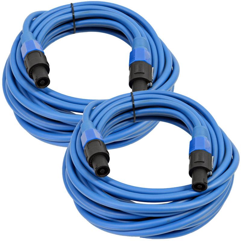 Seismic Audio  Pair of 12 Gauge 25' Blue Speakon to Speakon Speaker Cables Blue - TW12S25Blue-Pair