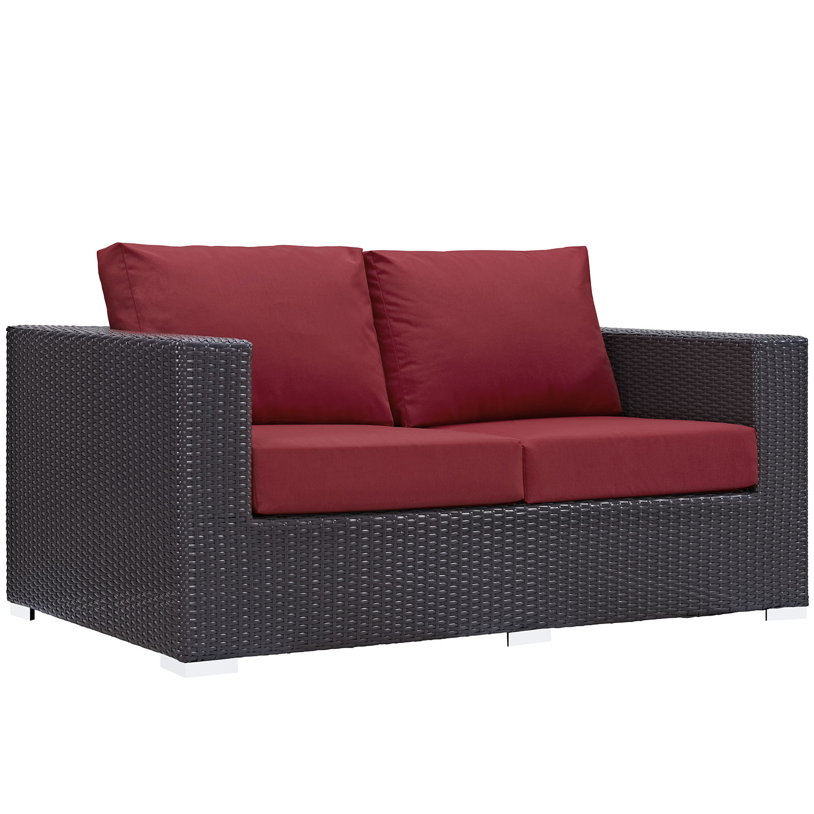 Modern Contemporary Urban Design Outdoor Patio Balcony Loveseat Sofa, Red, Rattan