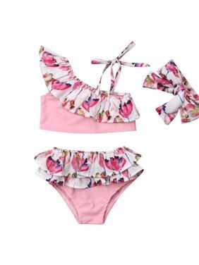 Infant Toddler Baby Girls 3PCS Floral Ruffle Bikini Beach Bathing Suit Set