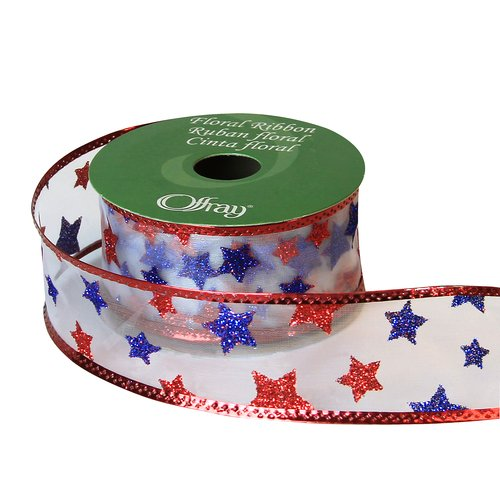 Offray Ribbon with Old Glory Glitter Stars, Red, White and Blue