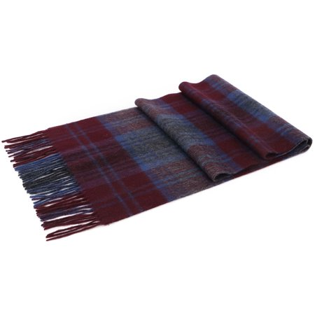 Mens Cashmere Plaid Scarf - Men's Winter Cashmere Scarf w/ Gift Box,Burgundy & Blue Plaid