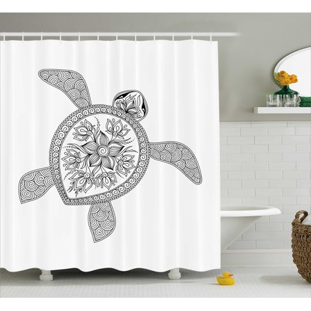 Turtle Shower Curtain, Artistic Turtle Figure Henna Mehndi Tattoo Style Doodles Floral Ornaments Asian, Fabric Bathroom Set with Hooks, 69W X 70L Inches, Black and White, by Ambesonne