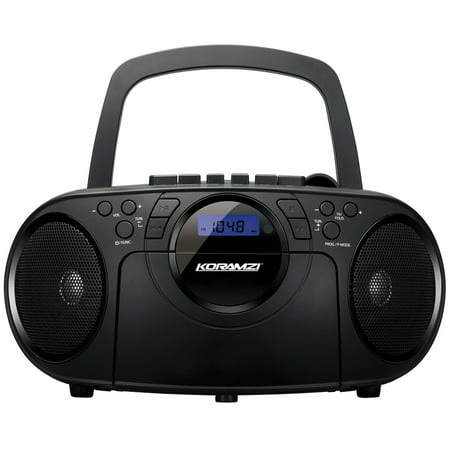 Portable CD Boombox Stereo Sound System w/ Top-Loading MP3 CD/Cassette Player and Recorder, AM/FM, USB Input, Headphone & AUX Jack w/ Full Function Remote Control-Koramzi CD705CBK (Black)-NEW (Cd Player Dj Usb)